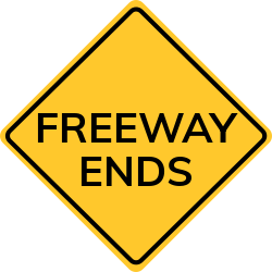 Freeway ends sign | Warns drivers to expect traffic in both directions