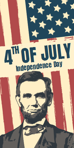 Abraham Lincoln Template | US Flag Background