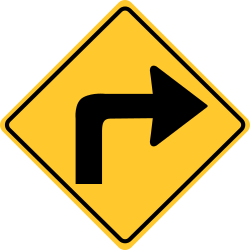 Turn right sign | Directs a person, indicates one should turn right