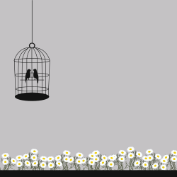 Birds in the cage along with beautiful chamomiles