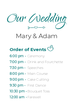 Wedding schedule sign template
