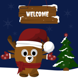 Welcome signage with a funny Christmas reindeer