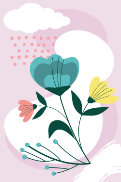 Floral template for interior decor