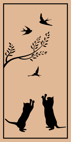Elegant and Simple artwork With flying birdies and a playful kitty cat