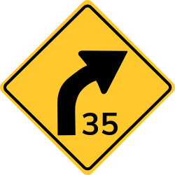 Advisory speed sign of the curve | Driven without exceeding specified