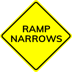 Ramp Narrows sign | Warns you are coming to a school zone. Slow down