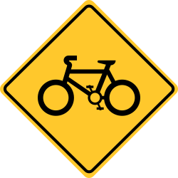 Yellow Warning Sign | Bicycle Warning traffic sign