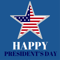 Happy Presidents Day | Star shape with Us flag