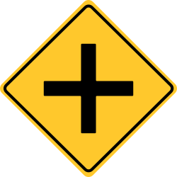 Cross roads sign | Tells another road crosses the highway ahead