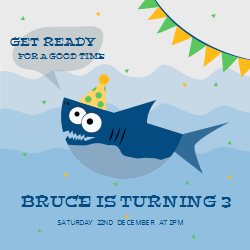 Get ready for a good time | shark birthday theme